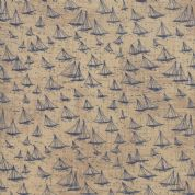 Moda - Ebb and Flow by Janet Clare - 6961 - Sailing Boats on Taupe  - 1480 24 - Cotton Fabric